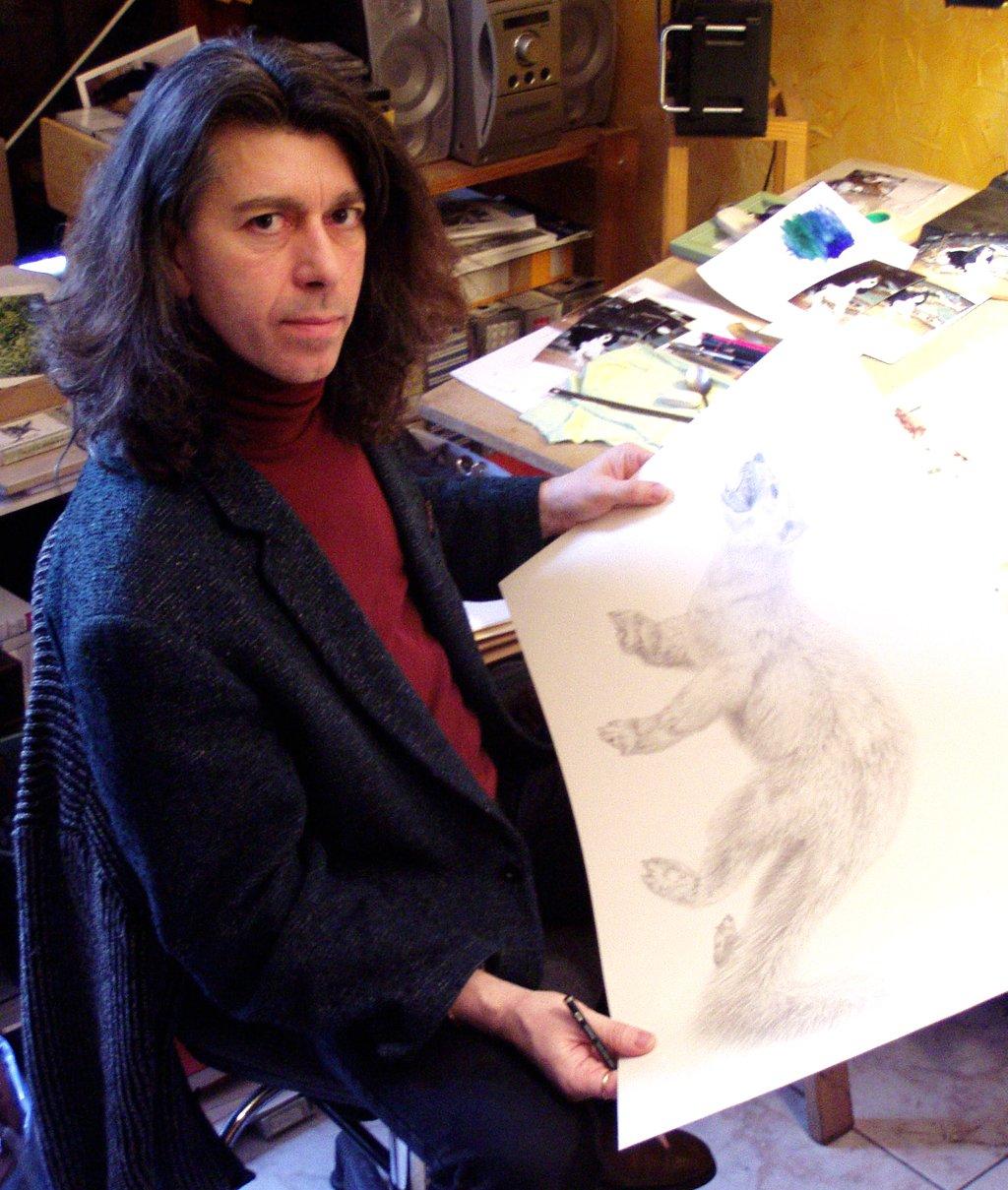 Hervé Paul dans son atelier